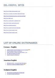 English Worksheets: USEFUL ESL SITES