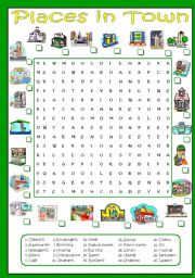 English Worksheet: Places in town