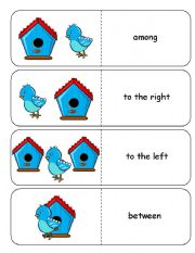 English Worksheets: Where is the Blue Bird Preposition Dominoes and Memory Cards Part 1 of 3