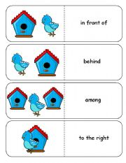 English Worksheets: Where is the Blue Bird Preposition Dominoes and Memory Cards Part 2 of 3