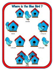 English Worksheets: Where is the Blue Bird Preposition Dominoes and Memory Cards Part 3 of 3