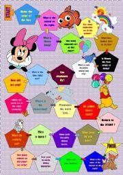 English Worksheets: Disney boardgame