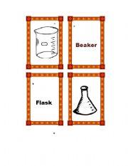 English Worksheets: Lab Equipment Memory Game