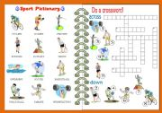 English Worksheet: Sport Pictionary and Crossword