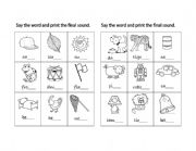 English Worksheets: Final sounds