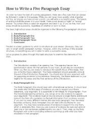English Worksheets: HOW TO WRITE A FIVE PARAGRAPH ESSAY
