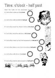 English worksheets: Time: O´clock - Half past
