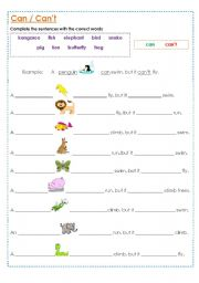 animal abilities can and can t esl worksheet by muppet007. Black Bedroom Furniture Sets. Home Design Ideas
