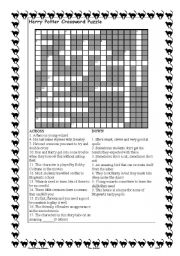 photo relating to Harry Potter Crossword Puzzle Printable named Harry Potter Cossword - ESL worksheet as a result of julierk