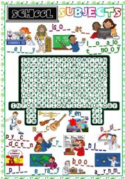 English Worksheet: School Subjects - WORDSEARCH *B&W included*