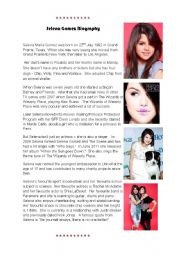 English Worksheets: Selena Gomez Biography and Factfile