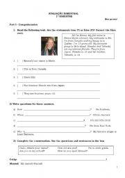 English Worksheets: prova para o 6o ano