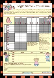 English Worksheet: Logic game (14th) - This is me *** with key *** for elementary level *** created with WORD 2003