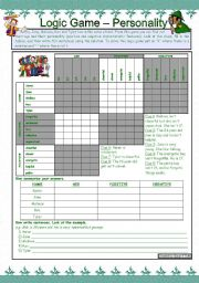 English Worksheet: Logic game (10th) - Personality *** with key *** for elementary level *** created with WORD 2003