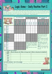 English Worksheets: Logic game (19th) - Daily routine Part I *** for elementary ss *** with key *** fully editable *** created with WORD 2003