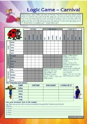 Logic game (16th) - Carnival *** with key *** for intermediate level *** created with WORD 2003