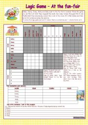 English Worksheet: Logic game (27th) - At the fun-fair * upper-elementary * with key * fully editable *** created with WORD 2003