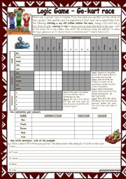 English Worksheet: Logic game (24th) - Go-kart race *** with key *** for intermediate level *** created with WORD 2003