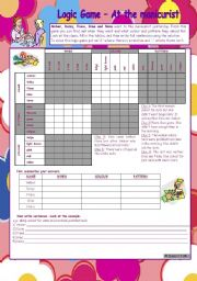 English Worksheets: Logic game (32nd) *** At the manicurist *** upper elementary *** with key *** created with WORD 2003