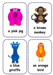 English Worksheets: funny animals flashcards