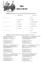 English Worksheets: SONG: GOING TO THE ZOO