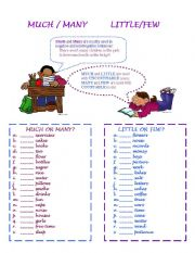 English Worksheet: Much/ Many/ Little/Few