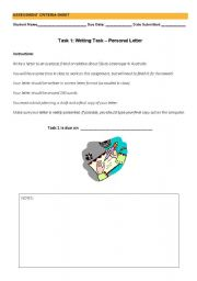 English Worksheet: Personal Letter Assignment Task
