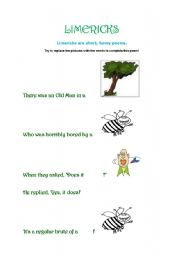 English Worksheet: Limericks-replacing pictures with words