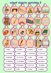 English Worksheet: school objects matching 2/2