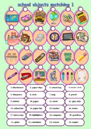 English Worksheet: school objects matching 1/2