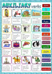 English Worksheet: Auxiliary verbs *B&W + KEY included*