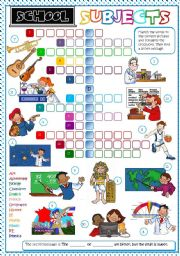 English Worksheet: School subjects - CROSSWORD *B&W + KEY included*