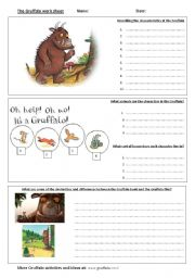 English Worksheets: �Gruffalo� worksheet - includes answer page