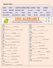 English Worksheet: Alphabet Song - Listening - TPR activity