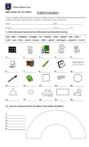 English Worksheet: 3rd Grade English Evaluation