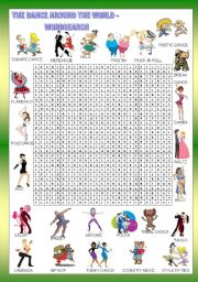 English Worksheets: HUMOR - THE DANCE AROUND THE WORLD - WORDSEARCH - FOR BEGINNERS  - KEY