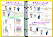 English Worksheet: What day is today/ Ordinal Number/ Date / Birthday