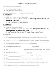 English Worksheet: UNREAL CONDITIONALS