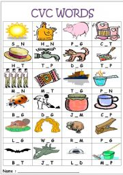 English Worksheet: CVC words- medial sounds