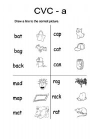 CVC-a Vocabulary words - ESL worksheet by Yellowismyfavoritecolor