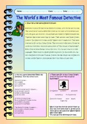 English Worksheet: The World�s Most Famous Detective
