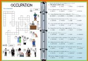 English Worksheets: Occupation Crossword and Multiple Choice