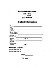English Worksheets: student iformation sheet