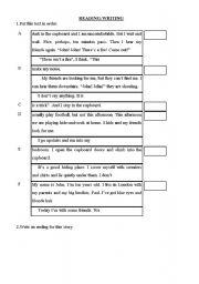 English Worksheets: READING WRITING EXERCISE
