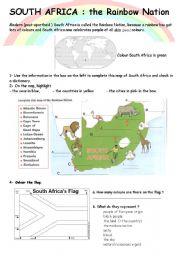 English Worksheet: SOUTH AFRICA WEBQUEST