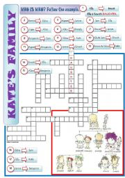 English Worksheet: A FAMILY TREE - a crossword + writing sentences + key