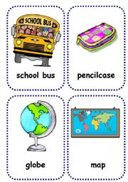 English Worksheet: school objects flashcards 1/2