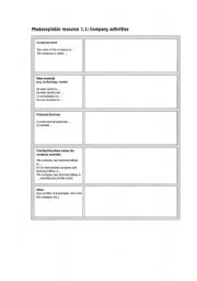 English Worksheets: Company Activities (Profile)