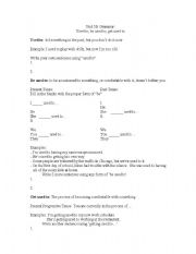 English Worksheet: Used to, Be Used to, Get used to