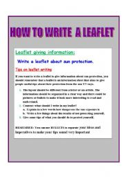 English Worksheets: HOW TO WRITE A LEAFLET ABOUT SUN PROTECTION